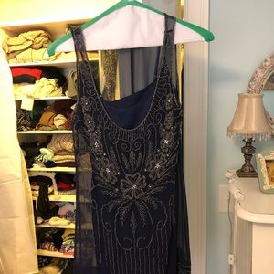 Navy Blue Beaded Shift Dress